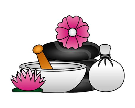 hot compress stones bowl flowers spa treatment therapy vector illustration Foto de archivo - 129467160