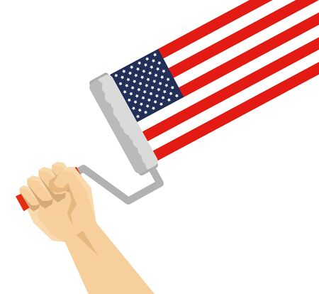 hand using paint roller painting usa flag vector illustration design