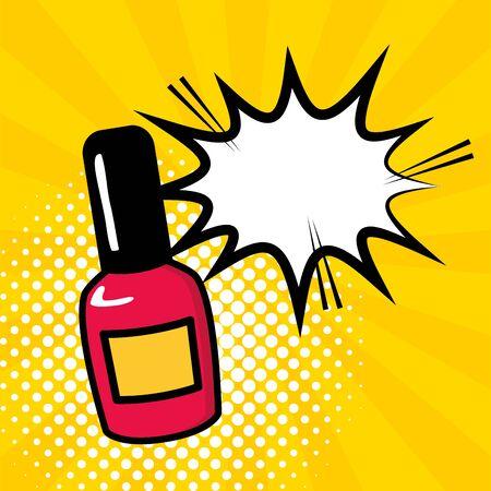 nail polish speech bubble pop art design vector illustration Illustration