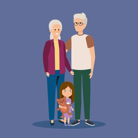 happy granparents together with grandaughter and teddy vector illustration Ilustração