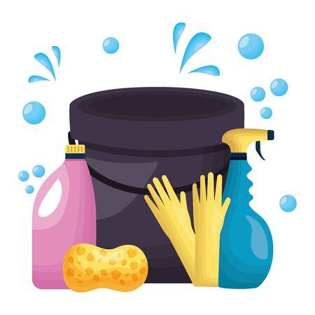 bucket sponge gloves detergent spring cleaning tool vector illustration