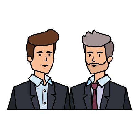 couple of businessmen avatars characters vector illustration design 일러스트