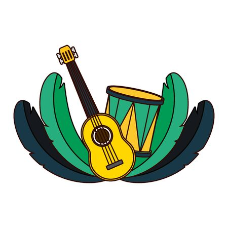 drum guitar feathers brazil carnival vector illustration