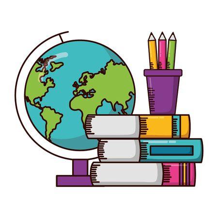 globe books pencils school supplies vector illustration design