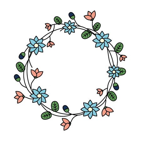 wreath with flowers and leaves decoration vector illustration
