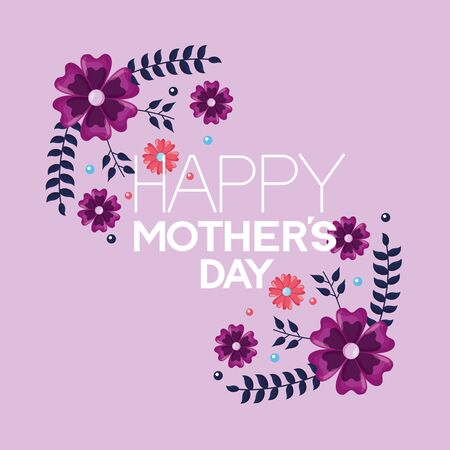 happy mothers day flowers greeting card vector illustration Banque d'images - 132221168
