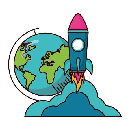 school globe rocket teachers day  vector illustration