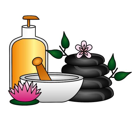 gel bowl stones product care flower spa therapy treatment vector illustration 일러스트
