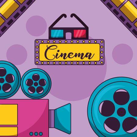 cinema movie 3d glasses camera reel film Standard-Bild - 129484334