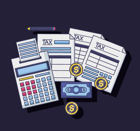 calculator banknote coins papers tax payment vector illustration Stock Illustratie