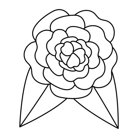 beautiful rose with leafs decoration vector illustration design Banque d'images - 129484336