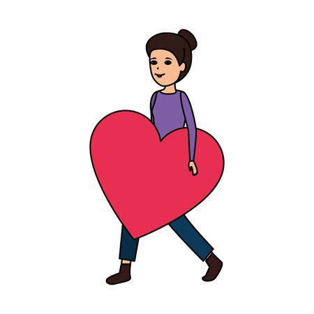 woman lifting heart love vector illustration design Çizim