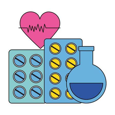 medical beaker pills heart medicine pharmacy vector illustration
