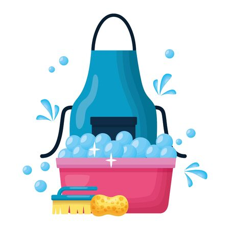 washing bucket sponge brush spring tool cleaning vector illustration Ilustração