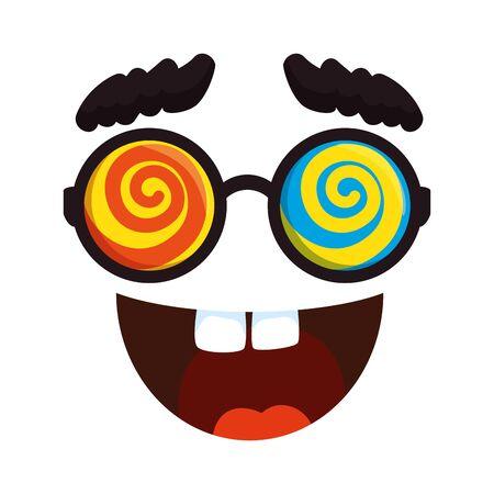 crazy face emoticon icon vector illustration design Illustration