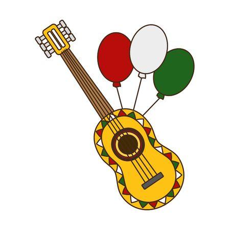 guitar with balloons mexico cinco de mayo vector illustration