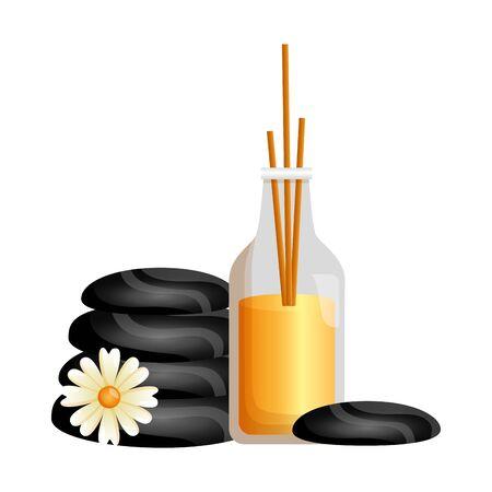 aromatherapy sticks hot stones flower spa therapy vector illustration Foto de archivo - 129484153
