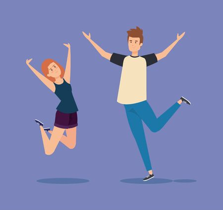 girl and boy jumping with casual clothes and hands up vector illustration Ilustração