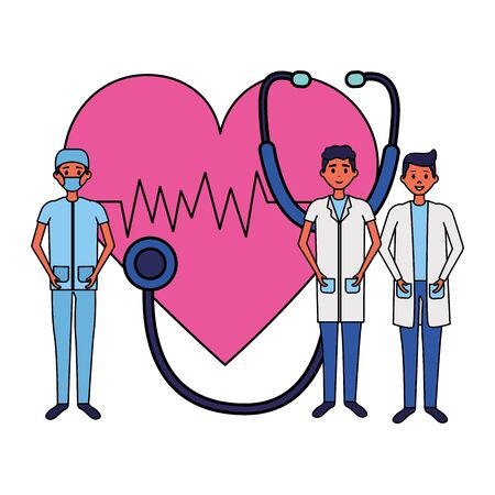medical group men stethoscope and heartbeat vector illustration vector illustration Ilustracja
