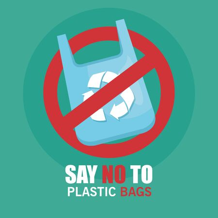 plastic bag recycle to save ecology vector illustration