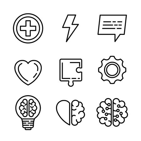 set mental health with puzzle and bulb idea vector illustration