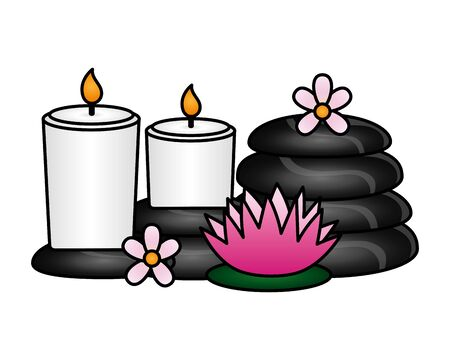 candles hot stones flowers spa treatment therapy vector illustration