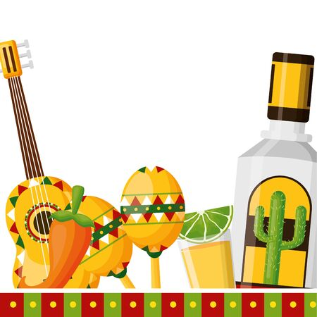 tequila guitar pepper shot maraca mexico cinco de mayo vector illustration Standard-Bild - 129484001