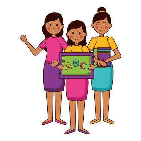 women and girl school blackboard books teachers day card vector illustration Çizim