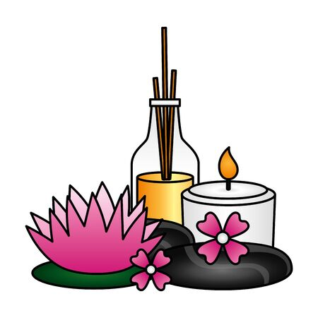 aromatherapy sticks candle flower spa treatment therapy vector illustration