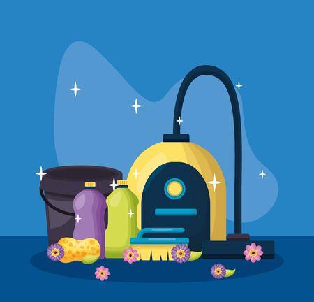 vacuum brush sponge bucket spring cleaning tools vector illustration Illustration