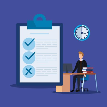 professional businessman with check list and office vector illustration