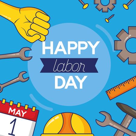 work tools poster labour day vector illustration  イラスト・ベクター素材