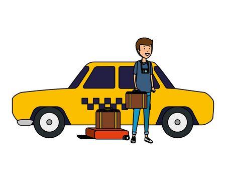 tourist man with suitcases and taxi character vector illustration design Illusztráció