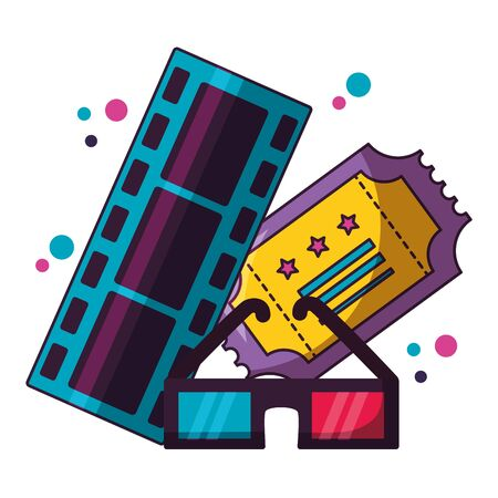 film strip ticket 3d glasses cinema movie vector illustration Stock Illustratie