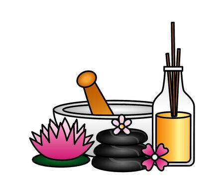 bowl stones aromatherapy sticks flowers spa treatment therapy vector illustration