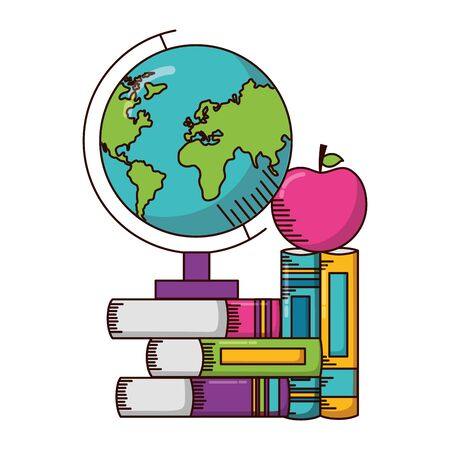 globe books apple school supplies vector illustration design