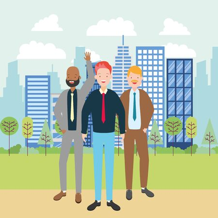 diversity men group city street tree building urban vector illustration