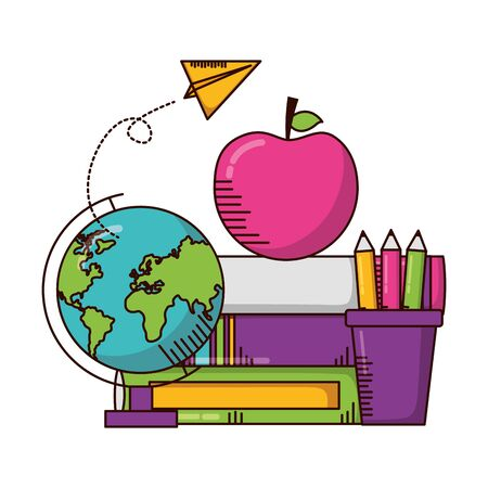 school globe book apple pencils teachers day card vector illustration  イラスト・ベクター素材