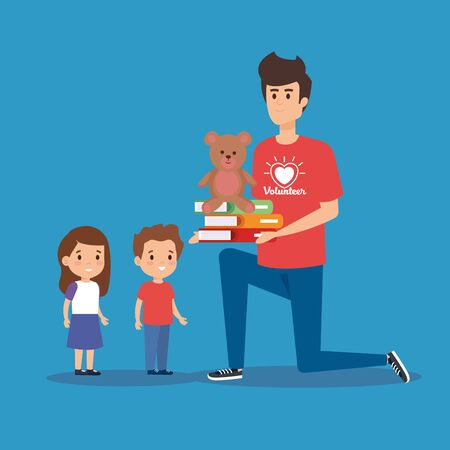 boy volunteer with books and teddy to kids vector illustration
