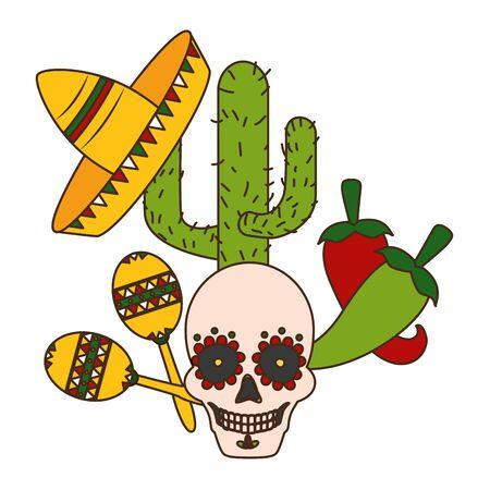 skull cactus hat maracas jalapeno mexico cinco de mayo vector illustration