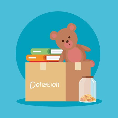 teddy and books inside box donation and moneybox vector illustration Stok Fotoğraf - 129499046