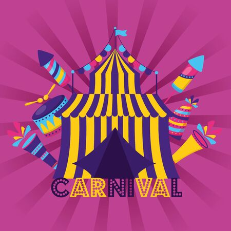 carnival tent circus drum hat vector illustration design 스톡 콘텐츠 - 129483711