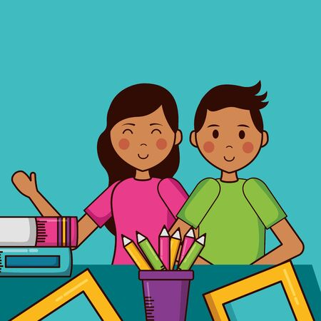 boy and girl supplies teachers day  vector illustration Banque d'images - 129483735