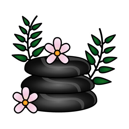 stones and flowers spa treatment therapy vector illustration Illustration