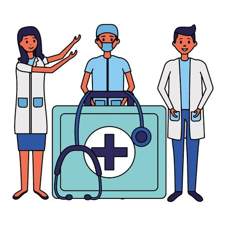people medical suitcase stethoscope equipment vector illustration