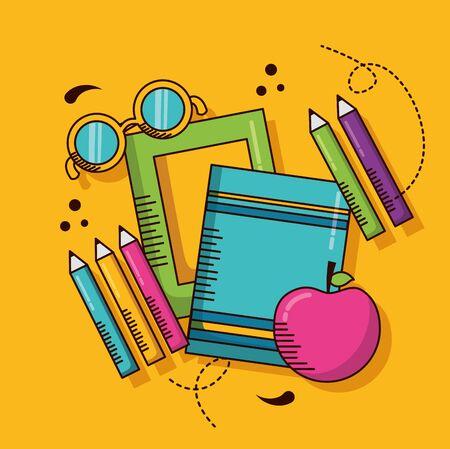 books eyeglasses apple colors school teachers day vector illustration design Stok Fotoğraf - 129483587