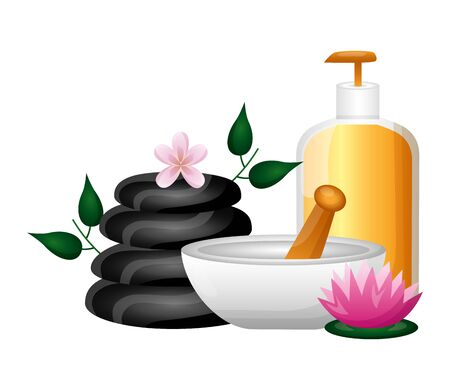 gel bowl stones product care flower spa therapy treatment vector illustration Çizim