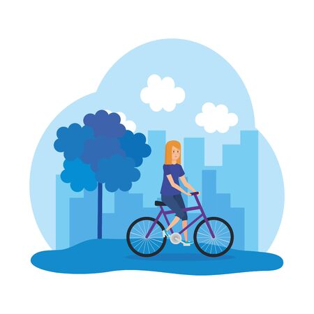 young woman in bicycle character vector illustration design Ilustração