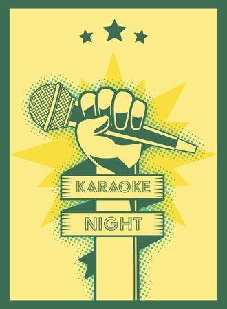 hand with microphone karaoke retro style poster vector illustration