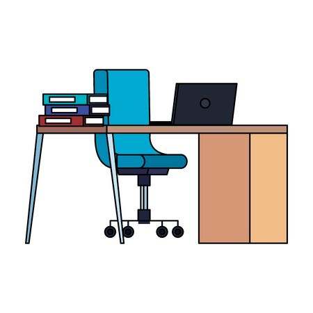office desk and chair with laptop vector illustration design